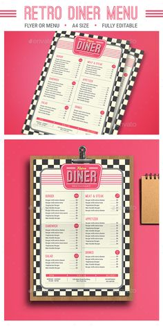 Retro Diner Menu by Guuver FeaturesAI CS Psd FIles size cm bleed Ready to print CMYK 300 DPI CMYK Print Ready well organized layer vector incl Diner Menu, Diner Party, Diner Restaurant, Restaurant Menu Design, Diner Food, Diner Table, Restaurant Identity, 1950 Diner, Vintage Diner
