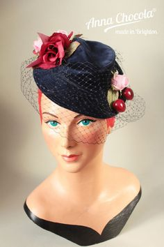 1940s TILT HAT BURLESQUE Navy velvet birdcage veil cherries roses Anna Chocola