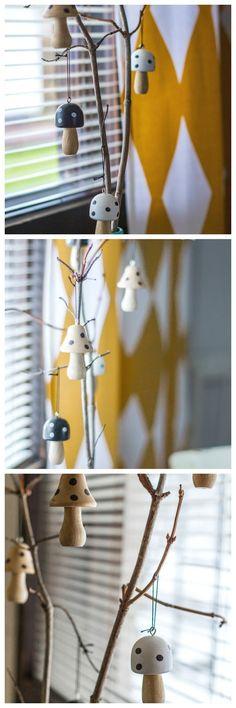 Santun Maja: Varaslähtö jouluun. Cute wooden mushroom decorations!