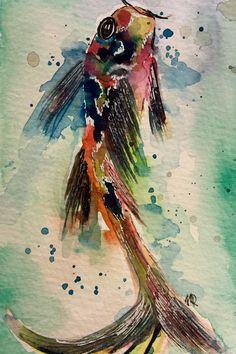 Koi Fisch - Original - Kunst - fine art - Aquarell von abstrakte bilder und mehr von maria-mercedes auf DaWanda.com