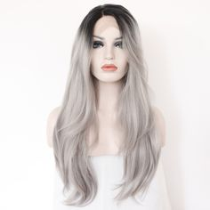 Two Tones Ombre Lace Front Wig with Black to Gray Gradient Heat Resistant Hair  #graywig #lacefrontwig