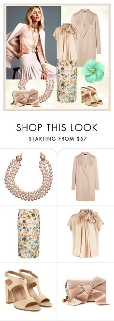 """""""Beige Impression"""" by yaschy ❤ liked on Polyvore featuring Chanel, Anja, The Row, River Island and Oscar de la Renta"""