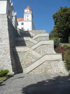 Staircase to Bratislava Castle, Bratislava, Slovakia. Bratislava Castle, the landmark overlooking the capital, was built in the 9th century. It stands on the hill above the Danube river. (V)