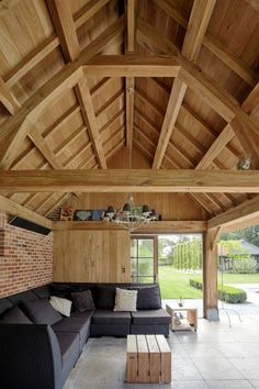 Houten Poolhouse, Houten Gastenverblijven > Cottage | Bogarden Pole Barn House Plans, Pole Barn Homes, Outdoor Rooms, Outdoor Living, Pavillion, Timber Structure, Pool Houses, Architecture Details, Future House