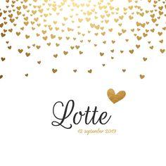 Schattig en trendy geboortekaartje met goudlook hartjes, verkrijgbaar bij #kaartje2go voor € 1,99