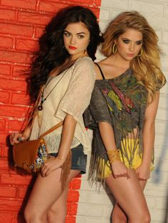 Pretty Little Liars stars Ashley Benson and Lucy Hale in Bongo's spring campaign. They are so pretty! Lucy Hale, Ashley Benson, Pll, Pretty People, Beautiful People, Pretty Little Liers, Teen Vogue, Woman Crush, Girl Crushes