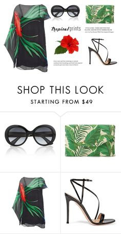 """Simple tropical print"" by fashiondeluxe ❤ liked on Polyvore featuring Gucci, Stella & Dot, Haney, Gianvito Rossi, tropicalprints and hottropics"