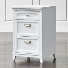 """Harrison 18"""" White 3-Drawer Cabinet - Crate and Barrel"""
