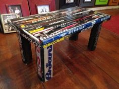 Hockey Stick Bench Hockey Stick Crafts, Wood Sample, Basement Ideas, Furnitures, Stools, Diy Furniture, Entryway Tables, Favorite Things, Bench