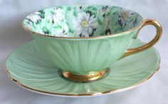 1932 SHELLEY BONE CHINA CUP/SAUCER DAISY CHINTZ MINT GREEN OLEANDER