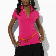 e5c6326779170 Ralph Lauren Mesh Women Featured Notch Short Sleeved Polo Pink Outlet  Online Pink Outlet