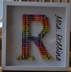 Crayon Monogram, perfect for a teacher gift