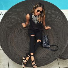 """@sincerelyjules's photo: """"All black today for #rsthecon wearing @shop_sincerelyjules tank and @dylanlex necklace! ❤️"""""""