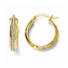 Leslie's 14k Polished Glimmer Infused Hoop Earrings, Women's, yellow