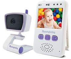 5 Inches LCD Video Wide View High Capacity Battery MoonyBaby Baby Monitor with 2 Cameras Split Screen Power Saving 2 Way Talk Back Temperature Monitoring Automatic Night Vision Long Range