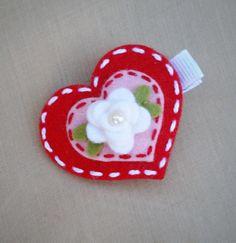 Valentine-heart-valentines-day-wool-felt alligator hair clip