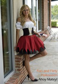 amazing base costume with velcro, to swap out the bodice, skirt, and waistpiece.  be a pirate, queen. sailor...all in a change of a panel