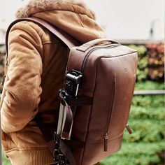Brown Leather Backpack rucksack 13 inch laptop by CapraLeather