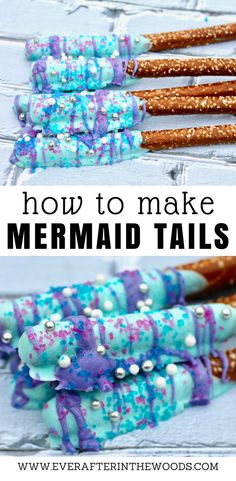 How to Make Mermaid Tails A special mermaid deserves a special mermaid tails. These chocolate covered pretzel rods are exactly what you need for a special mermaid birthday party or even a great treat for a school bake sale. They … Mermaid Birthday Cakes, Mermaid Cakes, Mermaid Tail Cake, Birthday Cupcakes, First Birthday Girl Mermaid, Mermaid Birthday Party Decorations Diy, Mermaid Birthday Decorations, Cupcake Party, Chocolate Covered Pretzel Rods