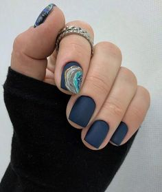 50 Pretty Ways to Wear Dark Blue Nails - 36 - Hair and Beauty eye makeup Ideas To Try - Nail Art Design Ideas Short Nail Designs, Nail Art Designs, Nails Gelish, Navy Nails, Yellow Nails, Short Gel Nails, Pretty Short Nails, Nagellack Trends, Nagel Gel
