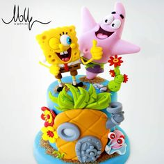 Spongebob by Molly! Spongebob Torte, Cute Cakes, Fancy Cakes, Fondant Cakes, Cupcake Cakes, Bob Sponge, Spongebob Birthday Party, Movie Cakes, Fantasy Cake