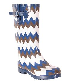 Look at this Navy & White Chevron Puddles Rain Boot by Nomad Footwear Stylish Rain Boots, Cute Rain Boots, Rubber Rain Boots, Pretty Shoes, Winter Wear, Navy And White, Me Too Shoes, Chevron, Fashion Shoes