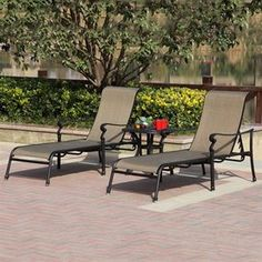 Darlee Set of 2 Monterey Sling Seat Aluminum Patio Chaise Lounges Lowes - two for around $850