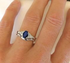 Classic Sapphire and Diamond Engagement Ring and Wedding Band