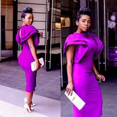 2018 New sexy robe de bal courte high neck purple prom cocktail dresses evening wear sheath tea length arab formal Prom gowns party dress Cocktail Dress 2017, Womens Cocktail Dresses, Black Cocktail Dress, African Attire, African Dress, Purple Satin, Purple Dress, Aso Ebi Styles, Girl Facts