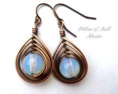 Wire wrapped earrings / wire wrapped jewelry handmade / opalite glass / copper jewelry / earthy jewelry / wire jewelry / dangle earrings