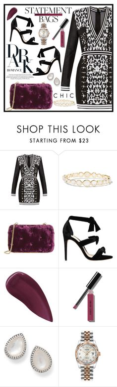 """Statement bag"" by masahassan ❤ liked on Polyvore featuring Balmain, Ippolita, Alexandre Birman, Lipstick Queen, Bobbi Brown Cosmetics and Rolex"