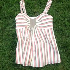 Nine West Lined Cotton/Linen Top - size 2 Cute Cotton/Linen blend fit and flare striped top by Nine West! Fully lined, zipper on side. Main color is a creamy white with pink/brown and steal/green accent stripes! Nine West Tops
