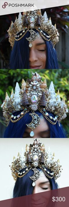Large Mermaid Crown by Chelsea's Flower Crowns Only used once. Basically brand new. Custom made mermaid crown by Chelsea's Flower Crowns. This crown is truly a work of art!! Accessories Hair Accessories