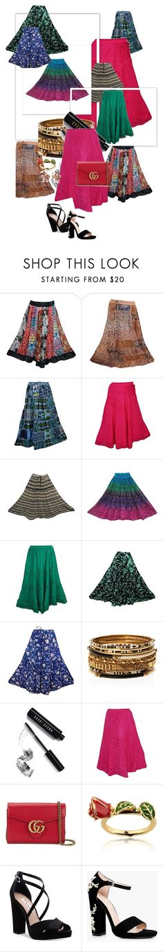 """Fashion Skirt"" by tarini-tarini ❤ liked on Polyvore featuring Amrita Singh, Bobbi Brown Cosmetics, Gucci, Disney, Nina, Boohoo, Allurez and skirt"
