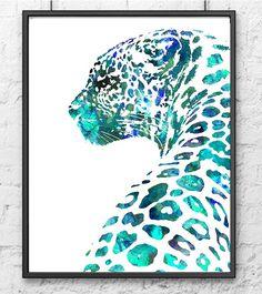 Watercolor Art Print Leopard Animal Painting Aqua by Thenobleowl