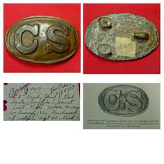 "An absolutely beautiful excavated large size die struck, lead filled, C.S. oval waist belt plate.  This extremely rare C.S. buckle is one of approximately 10 known existing examples of this rare die strike, and is out of the historic late ""William G. {Bill} Gavin collection.  A page from Mr. Gavin's notebook comes with buckle describing the plate and it's history in Mr. Gavin's own hand.  It reads ""C.S. oval, lead filled back, {waist belt} buckle from Zerkle Museum in Luray, VA. - purchased…"