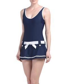 Nautical Swim Dress With Tummy Control
