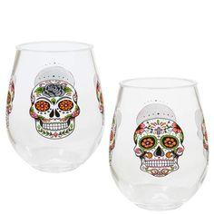 -Piece India Handcrafts Skelton Skull Glass Stemless Wine Glasses Set 4 Four