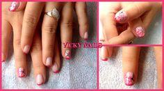 pink flower , nail art