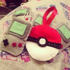 Felt Pokeball and mini Gameboy Christmas Tree decorations.