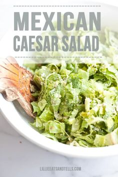 Super light and macro friendly Mexican Caesar salad with a creamy jalapeno avocado dressing you could drink!