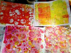 While the clear gesso was drying, I pulled out my gelli plate and began to play with the stencil and contrasting colors of red, pink and yellow. I made lots and lots of prints, but these are my favorites.