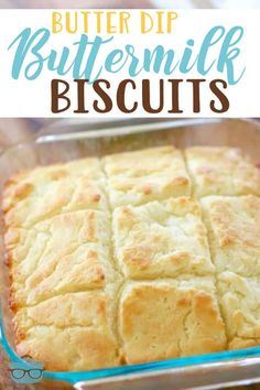 Butter Dip Buttermilk Biscuits are the easiest homemade biscuits. No biscuit cutter needed! Thick, fluffy and buttery! Heavenly! #homemade #butterdipbiscuits