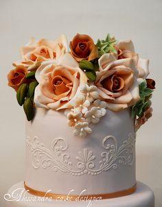Love the colors--Wedding cake by Alessandra Cake Designer, via Flickr