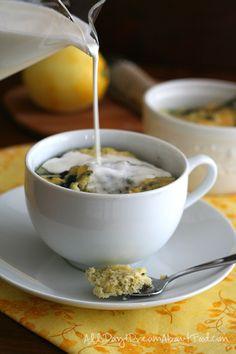 Low Carb Paleo Lemon Blueberry Mug Cake Recipe Low Carb Mug Cakes, Keto Mug Cake, Low Carb Desserts, Low Carb Recipes, Cooking Recipes, Diet Recipes, Paleo Dessert, Dessert Recipes, Sugar Free Sweets