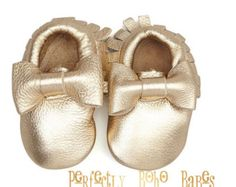 Rose gold baby leather shoes baby mocs gold by ElkKidsBoutique