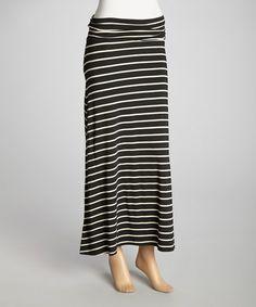 Love this Black & White Medium Stripe Maxi Skirt on #zulily! #zulilyfinds