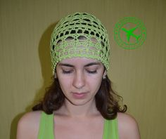 Crochet beanie. Green flash crochet women's beanie. Summer crochet beanie. Lacy beanie. 100 % cotton beanie. Beanie hat. Yarn beanie. Cap. - pinned by pin4etsy.com