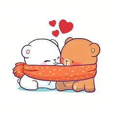 Cute 😍 love it ❤ Cute Couple Cartoon, Cute Cartoon Pictures, Cute Love Cartoons, Cute Couple Art, Cute Pictures, Cute Bear Drawings, Cute Kawaii Drawings, Gif Lindos, Chibi Cat