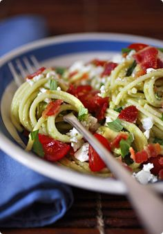Avocado and Fresh Tomato Pasta by The Traveler's Lunchbox, via Flickr